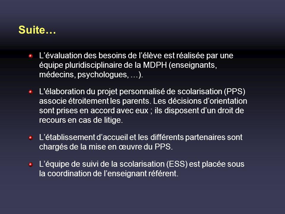 Suite… Lévaluation des besoins de lélève est réalisée par une équipe pluridisciplinaire de la MDPH (enseignants, médecins, psychologues, …). L'élabora
