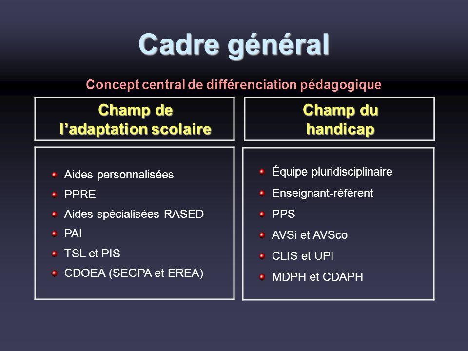 Cadre général Champ de ladaptation scolaire Champ du handicap Aides personnalisées PPRE Aides spécialisées RASED PAI TSL et PIS CDOEA (SEGPA et EREA)
