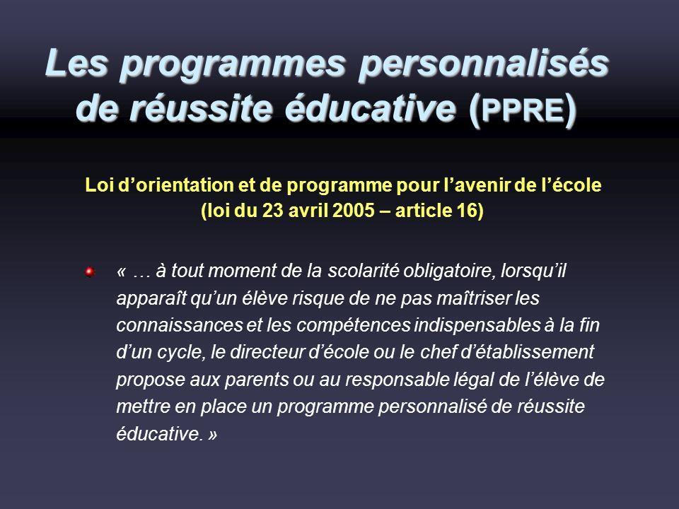 Les programmes personnalisés de réussite éducative ( PPRE ) Loi dorientation et de programme pour lavenir de lécole (loi du 23 avril 2005 – article 16