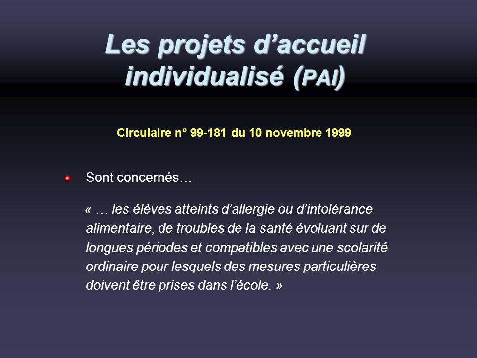 Les projets daccueil individualisé ( PAI ) Circulaire n° 99-181 du 10 novembre 1999 Sont concernés… « … les élèves atteints dallergie ou dintolérance