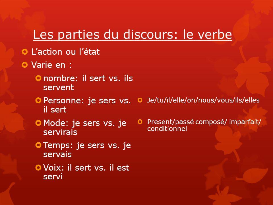 Les parties du discours: le verbe Laction ou létat Varie en : nombre: il sert vs.