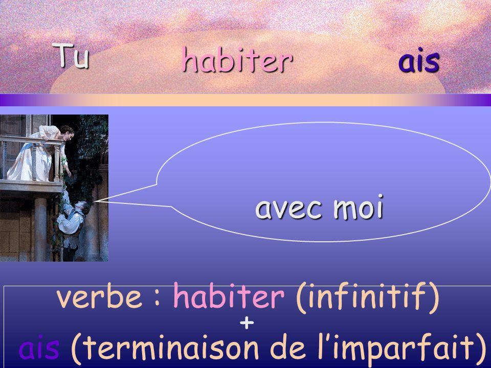 avec moi Tu habiterais verbe : habiter (infinitif) + ais (terminaison de limparfait)