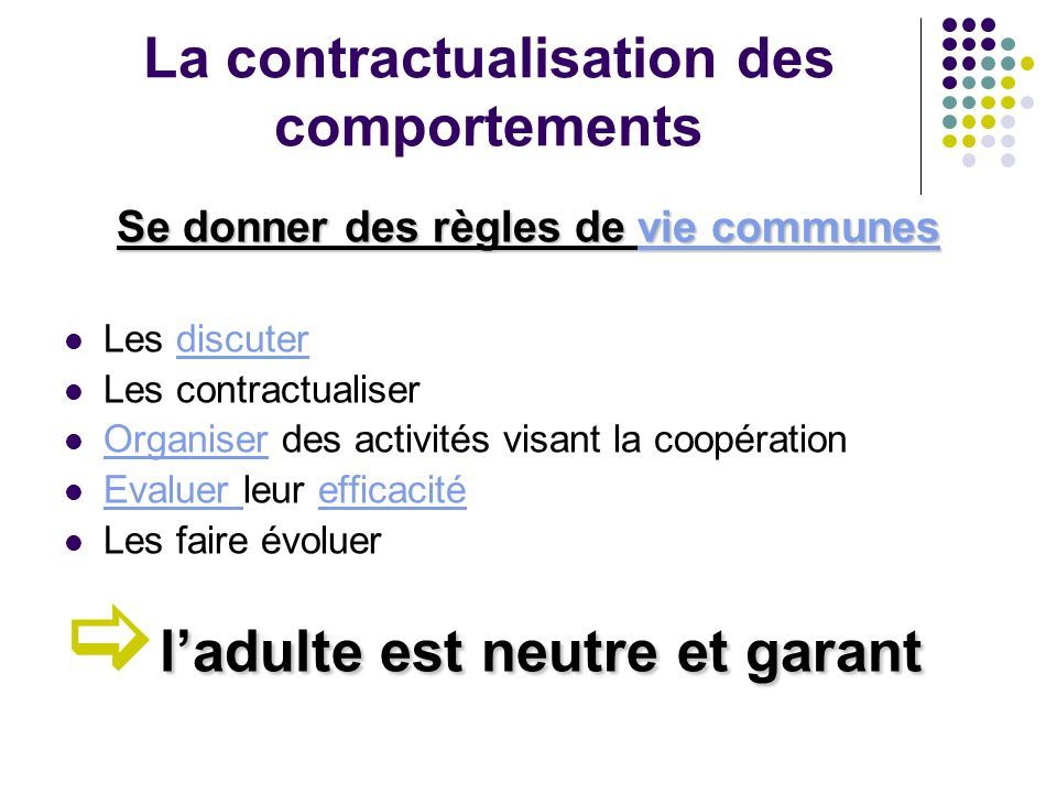 La contractualisation des comportements Se donner des règles de v v v v v iiii eeee c c c c oooo mmmm mmmm uuuu nnnn eeee ssss Les discuter Les contra