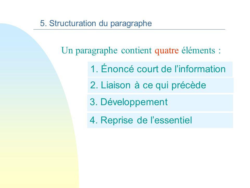 5. Structuration du paragraphe Le paragraphe est une unité de sens homogène (centré sur une seule information). Le paragraphe est signalé visuellement