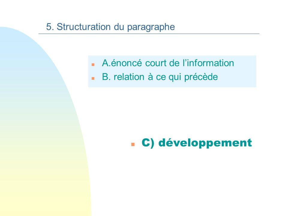 B. liaison à ce qui précède 5. Structuration du paragraphe la langue française est métissée. Par ailleurs, la langue française est métissée.