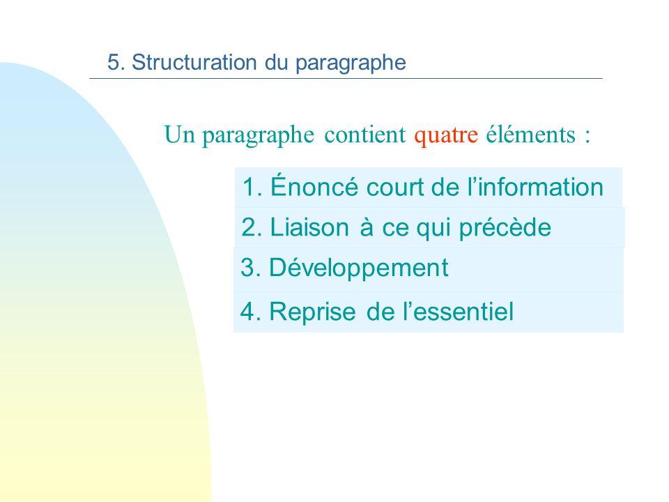 reprise de l essentiel 5. Structuration du paragraphe Le français est donc par son histoire, un véritable cocktail aux saveurs du monde.