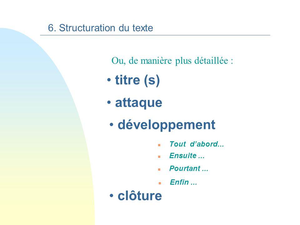 Le texte informatif organise plusieurs paragraphes sur le schéma suivant: 6. Structuration du texte titre attaque développement clôture