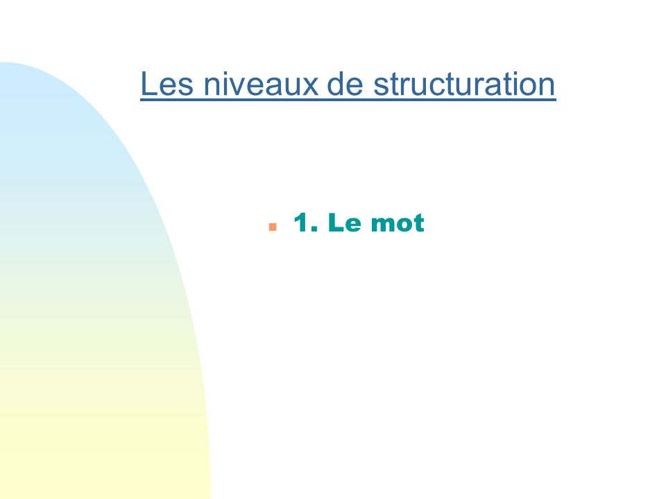 Les niveaux de structuration n 1.Le mot n 2. Le groupe de mots n 3.