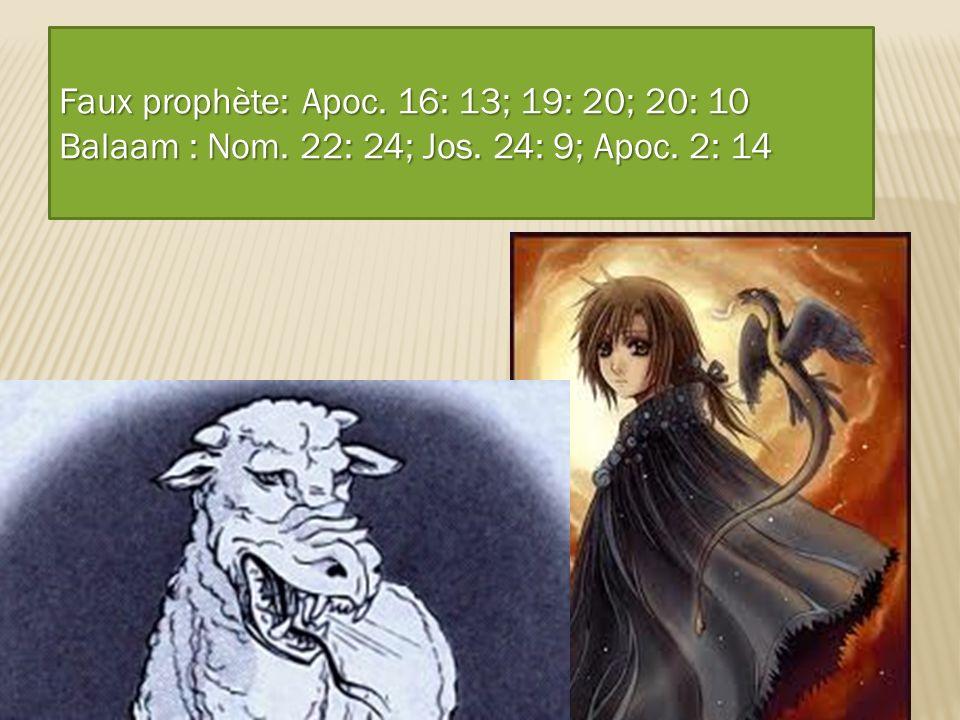 Caractéristiques de cette bête Parle comme un dragon Faux prophète: Apoc. 16: 13; 19: 20; 20: 10 Balaam : Nom. 22: 24; Jos. 24: 9; Apoc. 2: 14