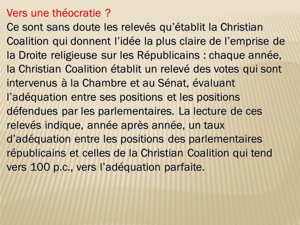 Vers une théocratie ? Ce sont sans doute les relevés quétablit la Christian Coalition qui donnent lidée la plus claire de lemprise de la Droite religi