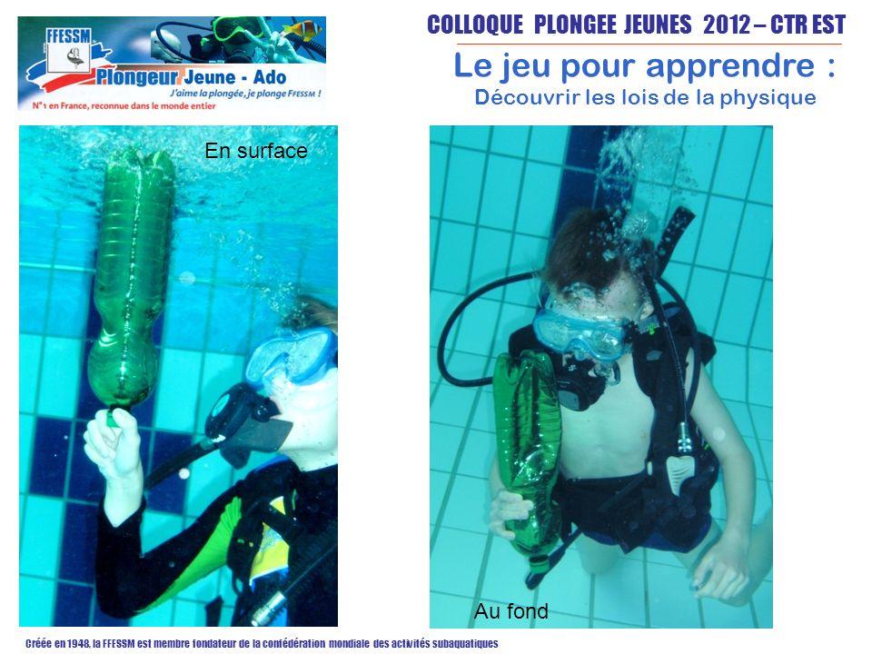 COLLOQUE PLONGEE JEUNES 2012 – CTR EST Créée en 1948, la FFESSM est membre fondateur de la confédération mondiale des activités subaquatiques Le jeu pour apprendre : Découvrir les lois de la physique En surface Au fond