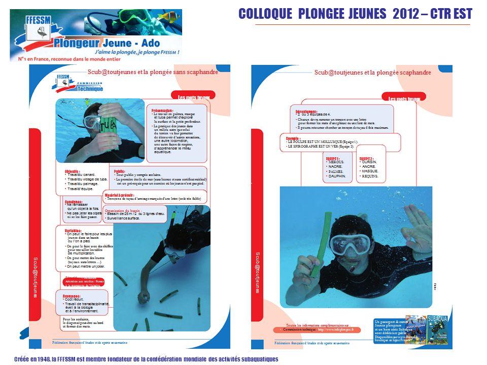 COLLOQUE PLONGEE JEUNES 2012 – CTR EST Créée en 1948, la FFESSM est membre fondateur de la confédération mondiale des activités subaquatiques