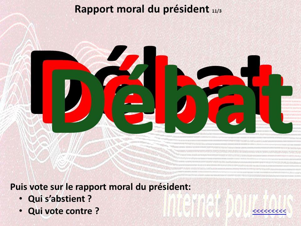 Rapport moral du président 11/3 Débat <<<<<<<<< Puis vote sur le rapport moral du président: Qui sabstient .