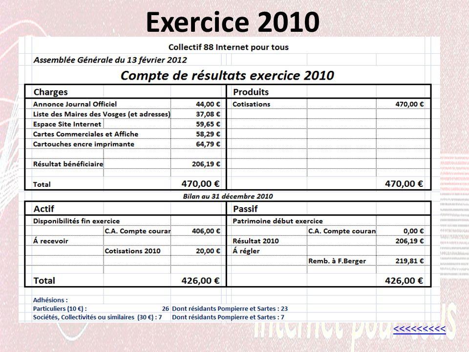 Exercice 2010 <<<<<<<<<