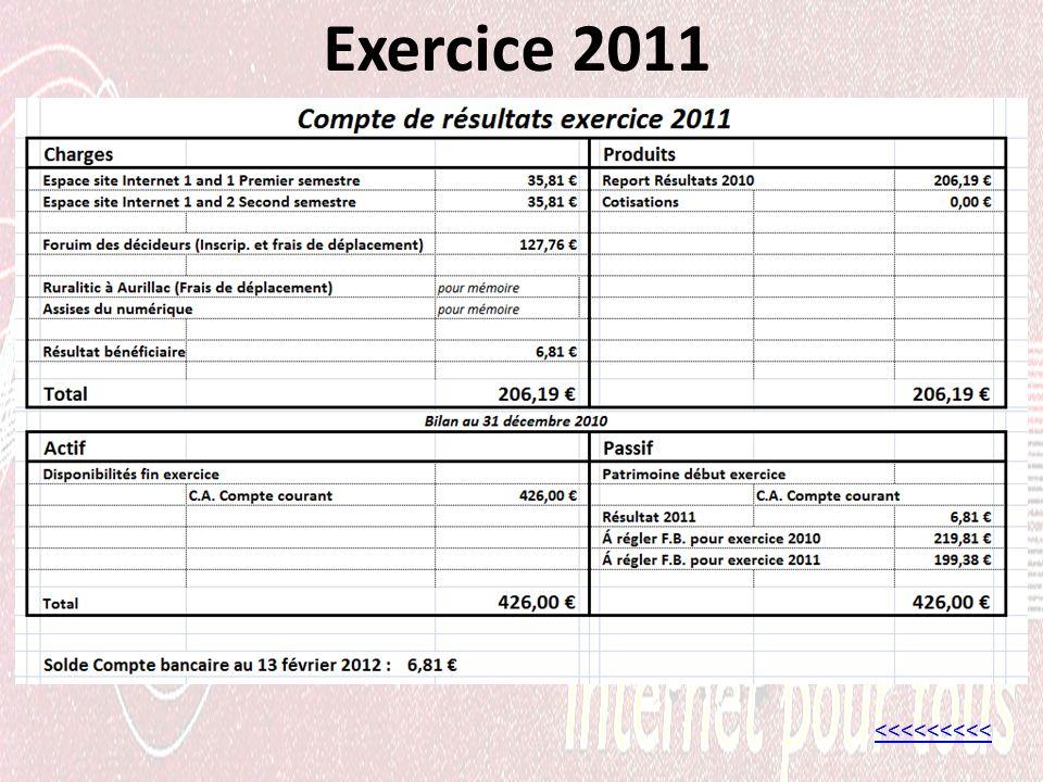 Exercice 2011 <<<<<<<<<