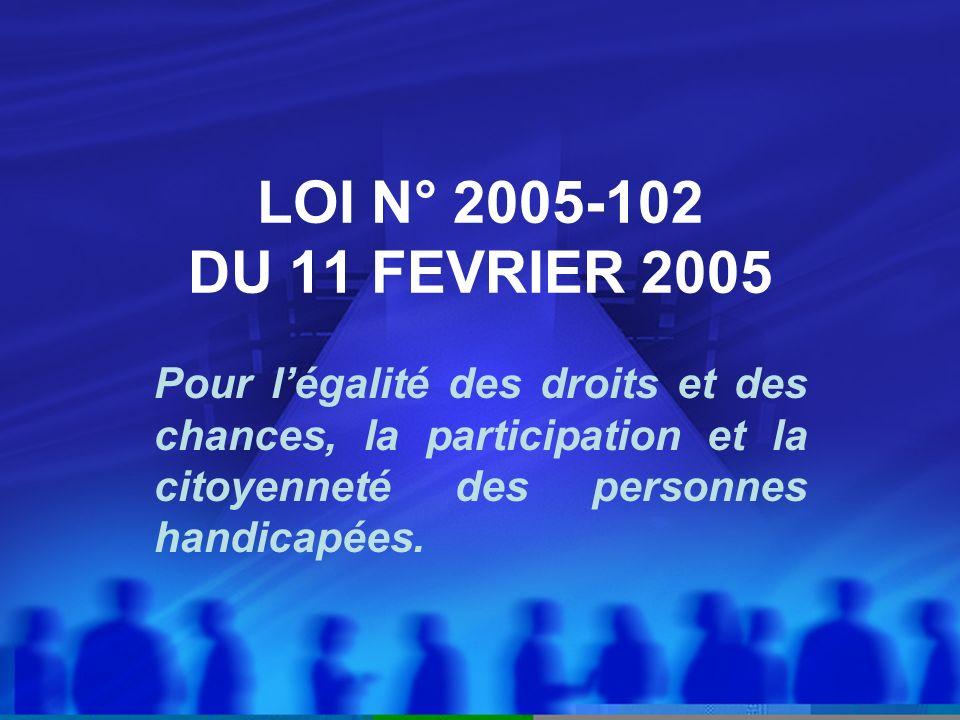LOI N° 2005-102 DU 11 FEVRIER 2005 Pour légalité des droits et des chances, la participation et la citoyenneté des personnes handicapées.