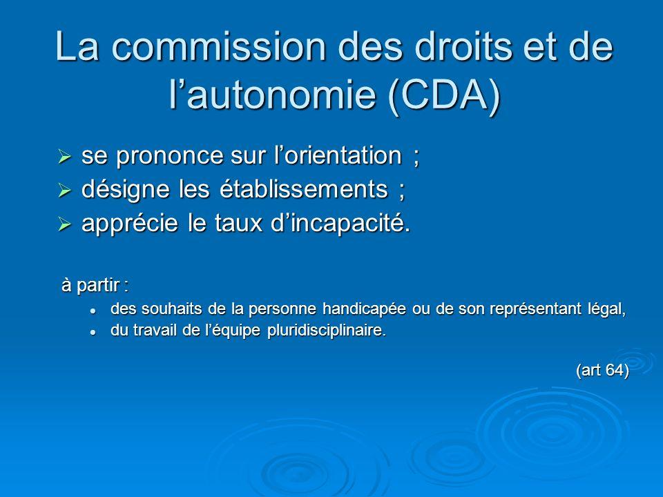 La commission des droits et de lautonomie (CDA) se prononce sur lorientation ; se prononce sur lorientation ; désigne les établissements ; désigne les