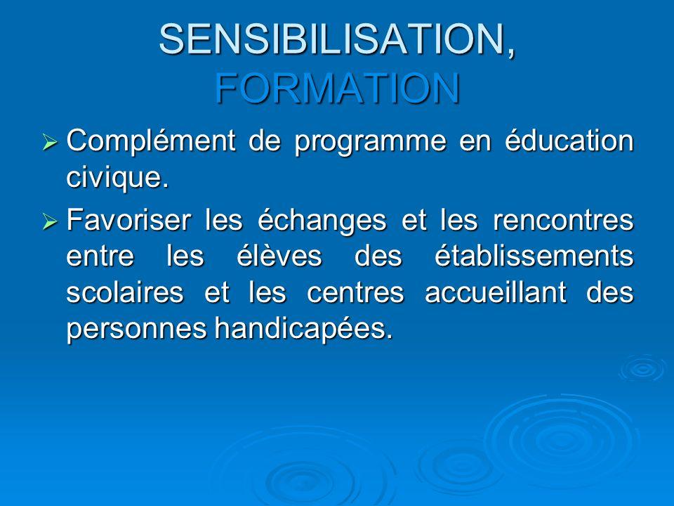 SENSIBILISATION, FORMATION Complément de programme en éducation civique. Complément de programme en éducation civique. Favoriser les échanges et les r