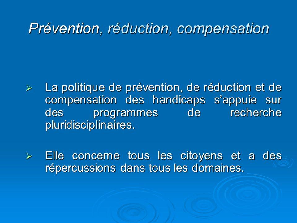 Prévention, réduction, compensation La politique de prévention, de réduction et de compensation des handicaps sappuie sur des programmes de recherche