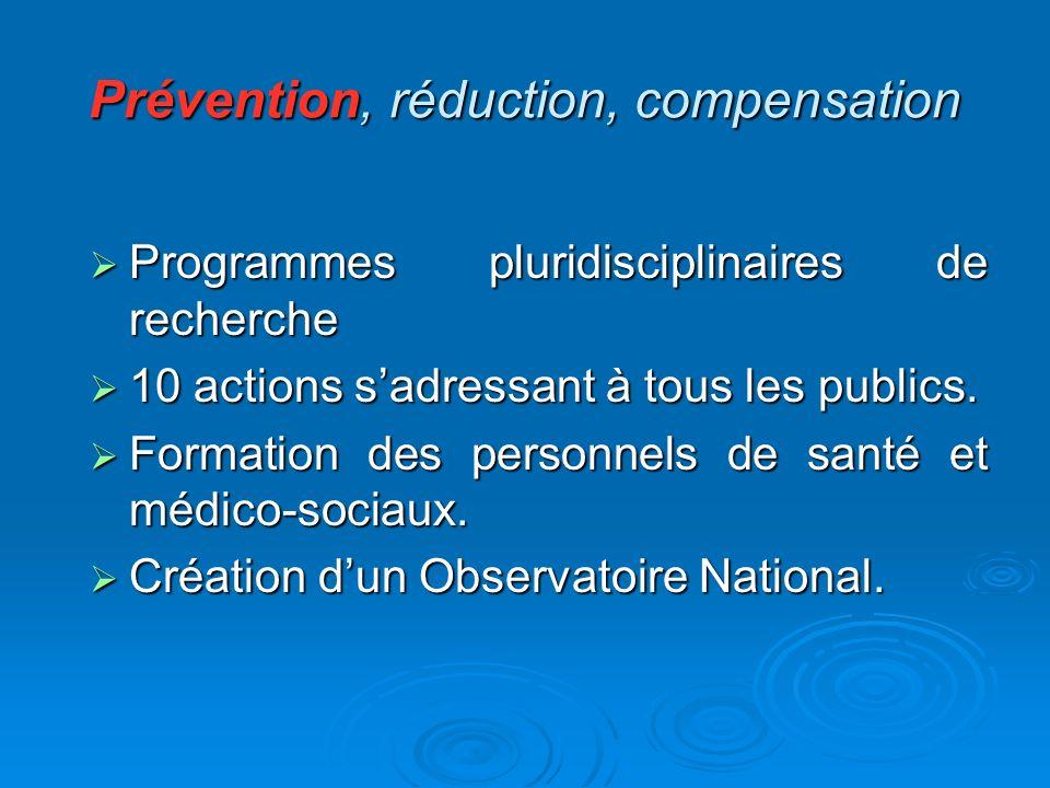 Prévention, réduction, compensation Programmes pluridisciplinaires de recherche Programmes pluridisciplinaires de recherche 10 actions sadressant à to