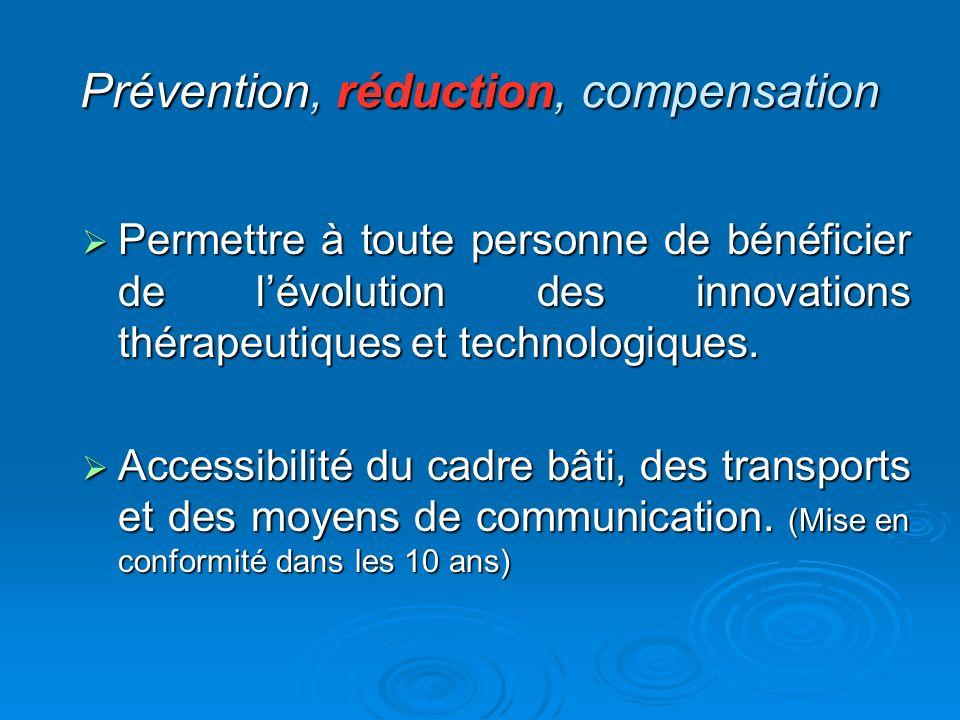 Prévention, réduction, compensation Permettre à toute personne de bénéficier de lévolution des innovations thérapeutiques et technologiques. Permettre