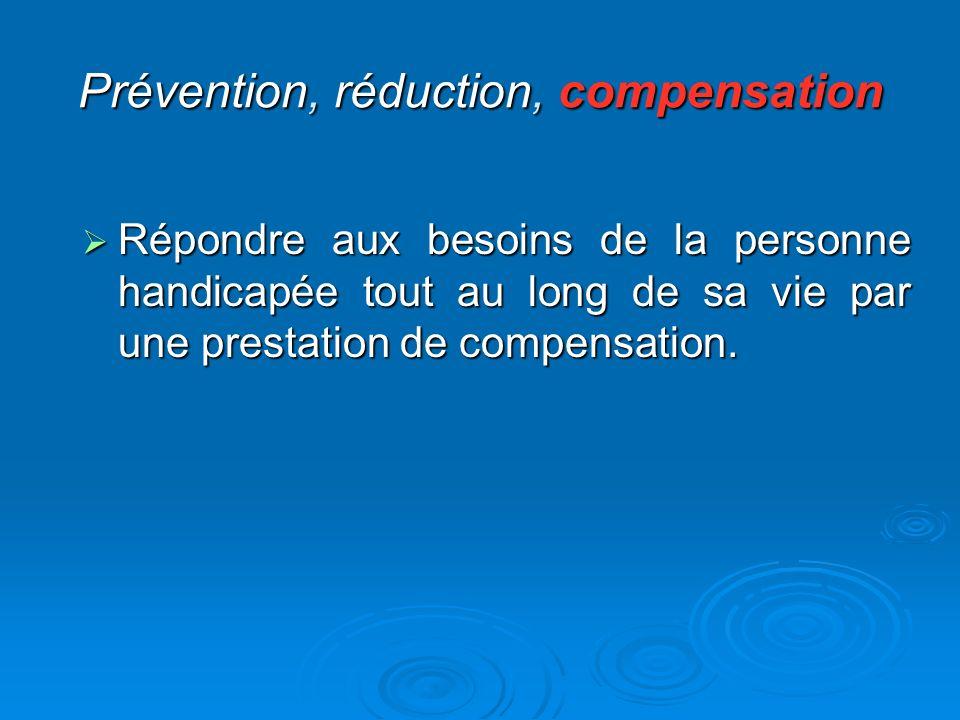Prévention, réduction, compensation Répondre aux besoins de la personne handicapée tout au long de sa vie par une prestation de compensation. Répondre