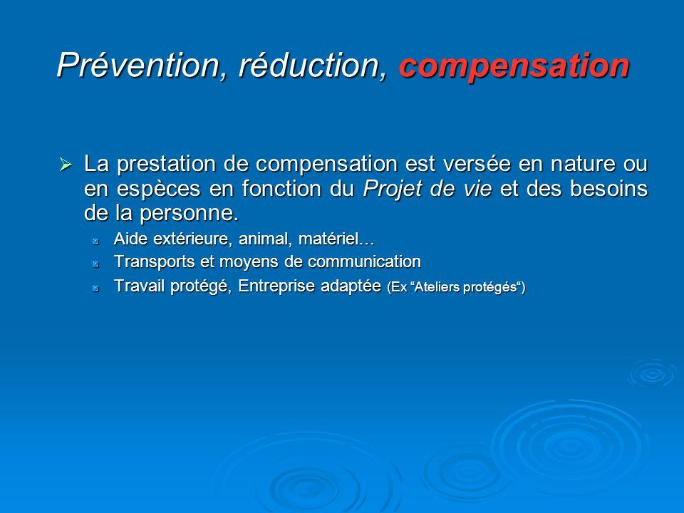Prévention, réduction, compensation La prestation de compensation est versée en nature ou en espèces en fonction du Projet de vie et des besoins de la
