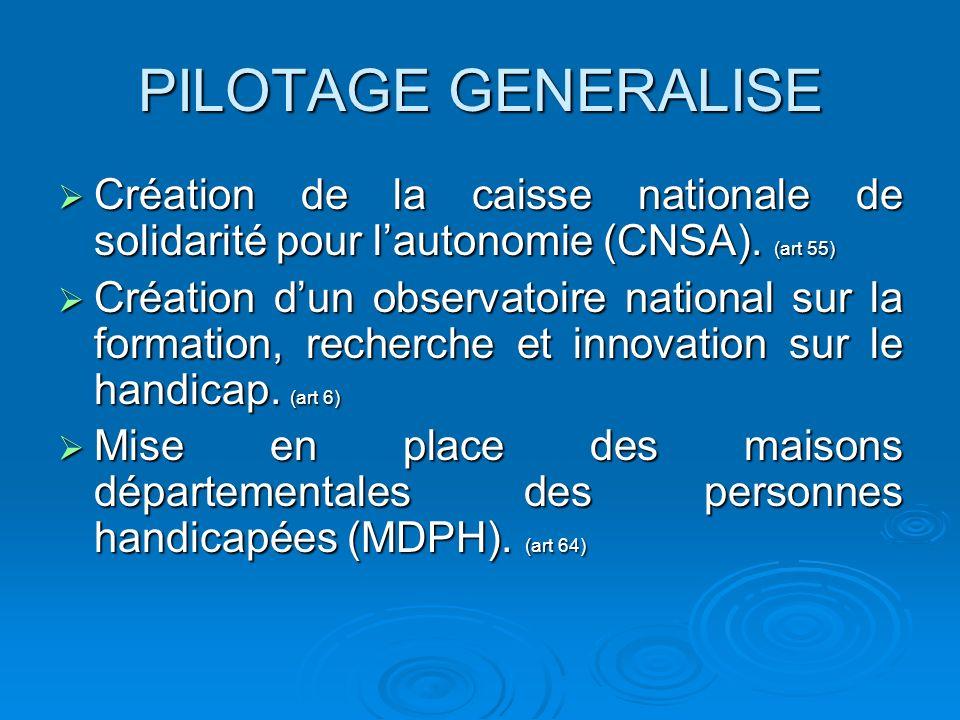 PILOTAGE GENERALISE Création de la caisse nationale de solidarité pour lautonomie (CNSA). (art 55) Création de la caisse nationale de solidarité pour