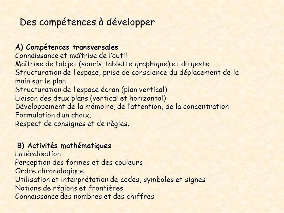 Des compétences à développer B) Activités mathématiques Latéralisation Perception des formes et des couleurs Ordre chronologique Utilisation et interp