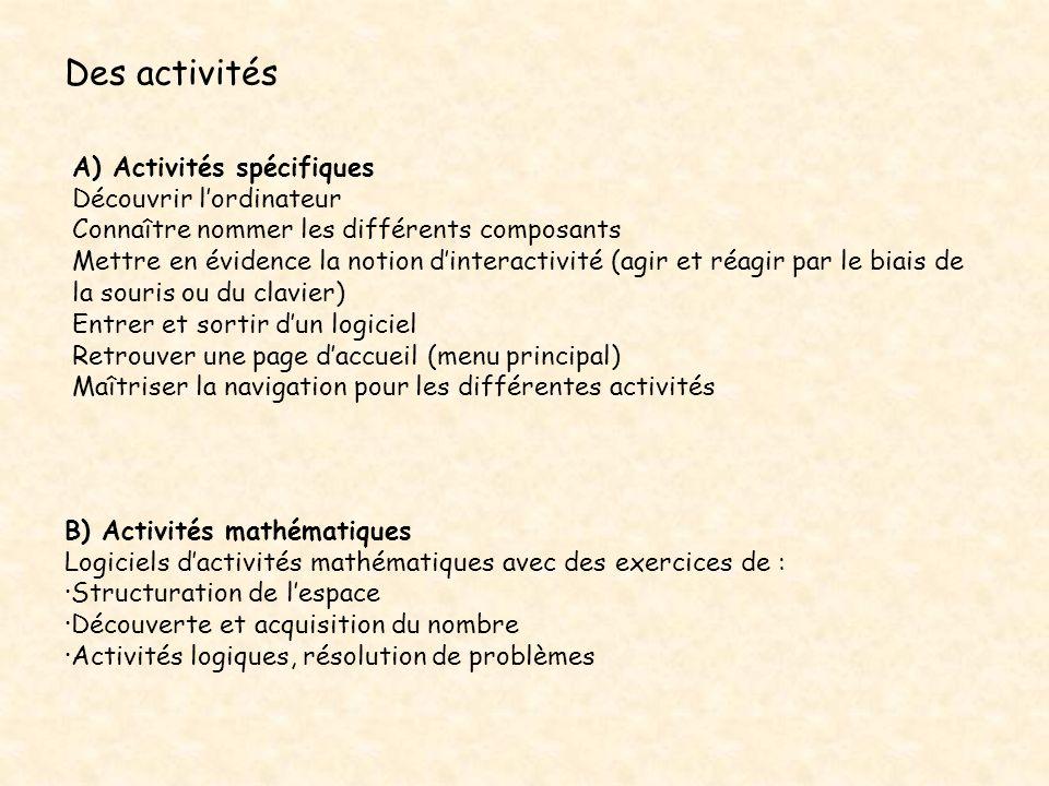 Des activités B) Activités mathématiques Logiciels dactivités mathématiques avec des exercices de : ·Structuration de lespace ·Découverte et acquisiti