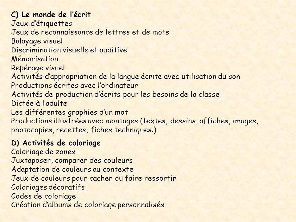 C) Le monde de lécrit Jeux détiquettes Jeux de reconnaissance de lettres et de mots Balayage visuel Discrimination visuelle et auditive Mémorisation R