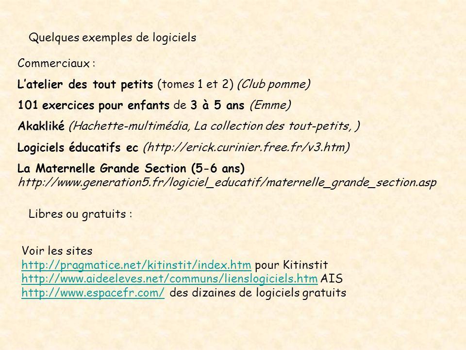 Quelques exemples de logiciels Commerciaux : Latelier des tout petits (tomes 1 et 2) (Club pomme) 101 exercices pour enfants de 3 à 5 ans (Emme) Akakl