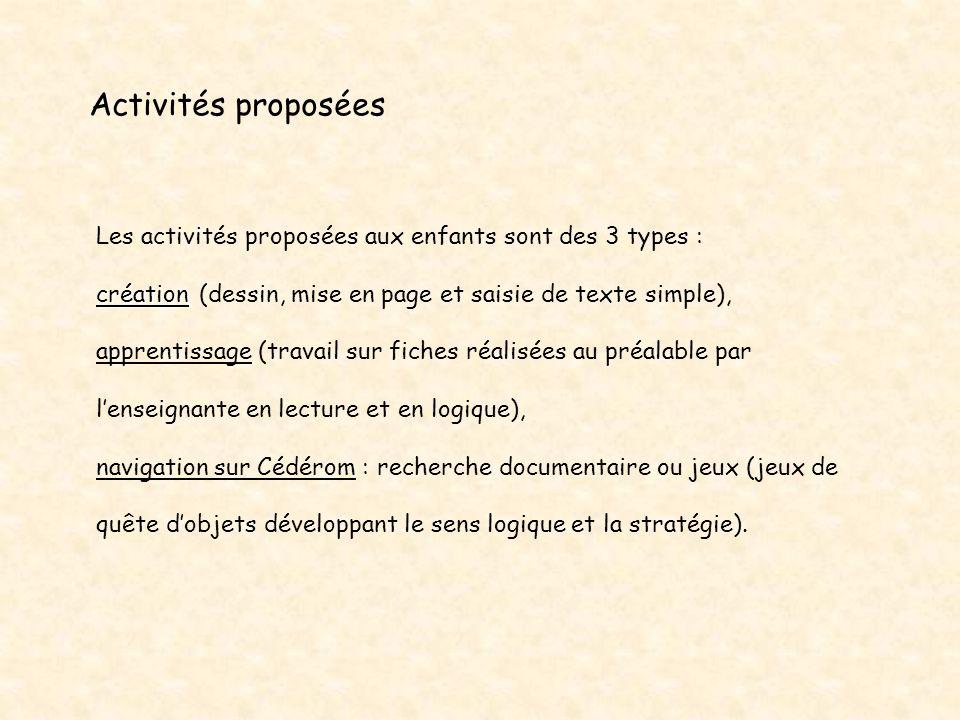 Les activités proposées aux enfants sont des 3 types : création création (dessin, mise en page et saisie de texte simple), apprentissage (travail sur
