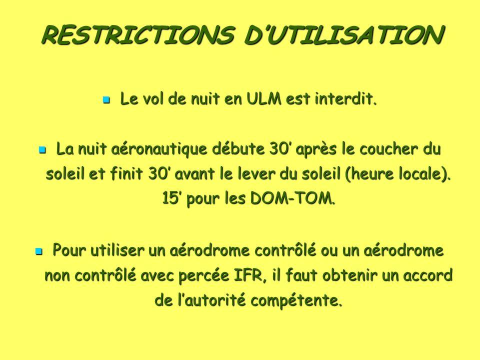 RESTRICTIONS DUTILISATION Le vol de nuit en ULM est interdit. Le vol de nuit en ULM est interdit. La nuit aéronautique débute 30 après le coucher du s