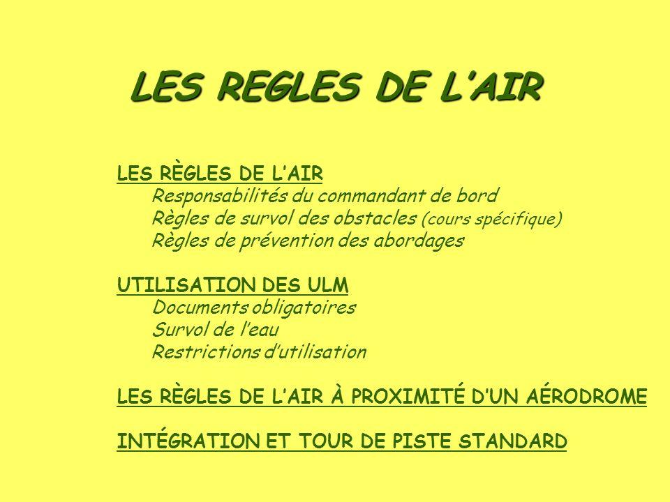 LES REGLES DE LAIR LES RÈGLES DE LAIR Responsabilités du commandant de bord Règles de survol des obstacles (cours spécifique) Règles de prévention des