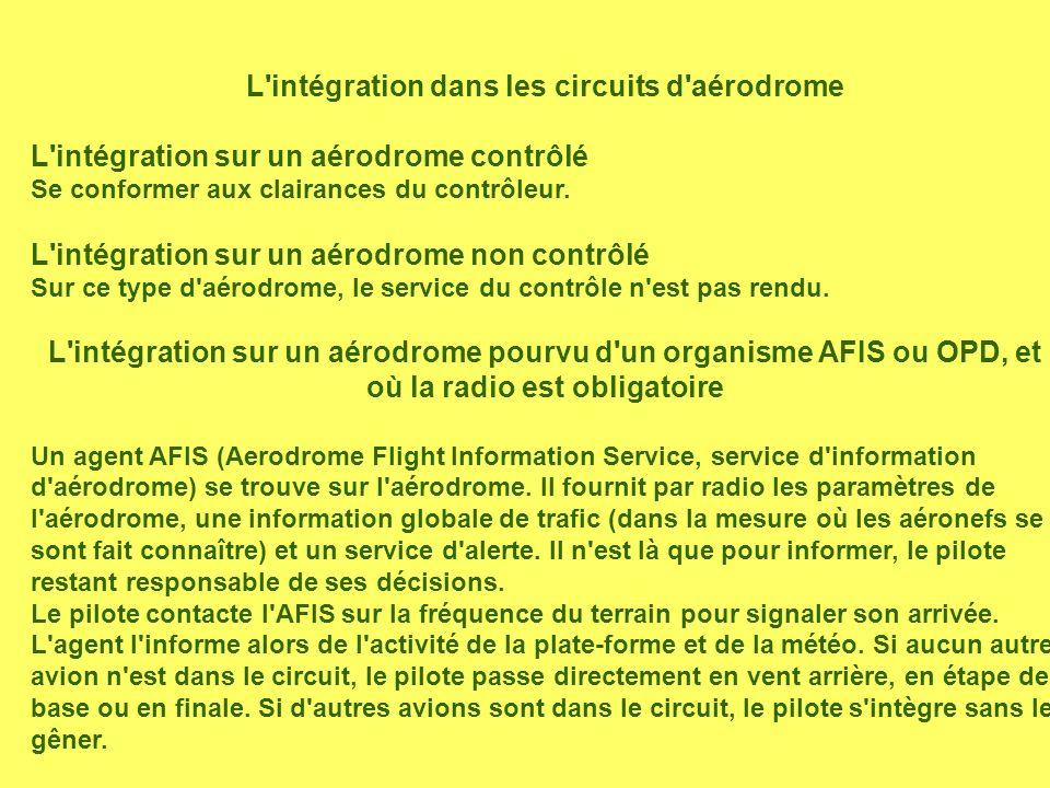 L'intégration dans les circuits d'aérodrome L'intégration sur un aérodrome contrôlé Se conformer aux clairances du contrôleur. L'intégration sur un aé