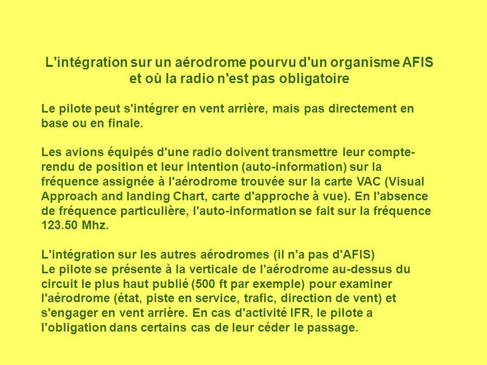 L'intégration sur un aérodrome pourvu d'un organisme AFIS et où la radio n'est pas obligatoire Le pilote peut s'intégrer en vent arrière, mais pas dir