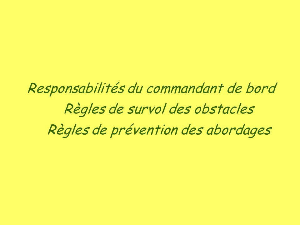 Responsabilités du commandant de bord Règles de survol des obstacles Règles de prévention des abordages