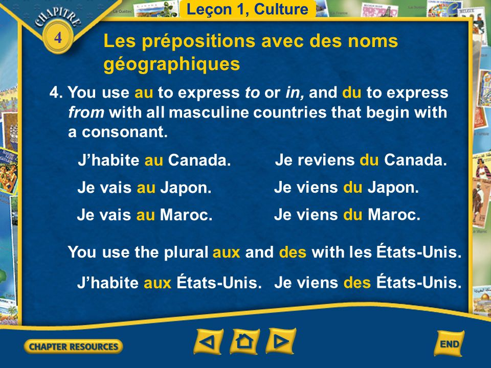 4 Les prépositions avec des noms géographiques 3. You use en to express in or to and de (d) to express from with all continents and countries with the