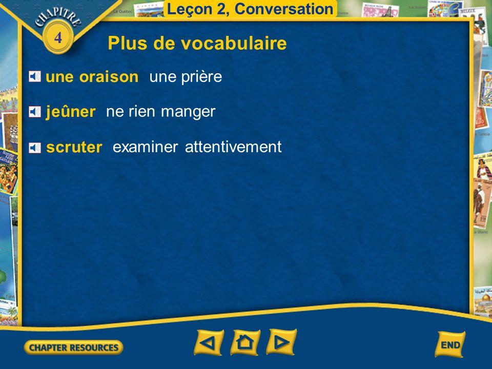4 Vocabulaire pour la conversation Leçon 2, Conversation des légumes secs des pois chiches des lentilles