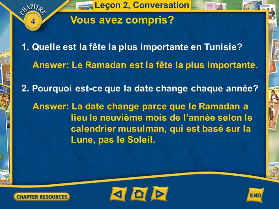 4 Conversation Leçon 2, Conversation Une grande fête Julie Cest quoi, la harira.