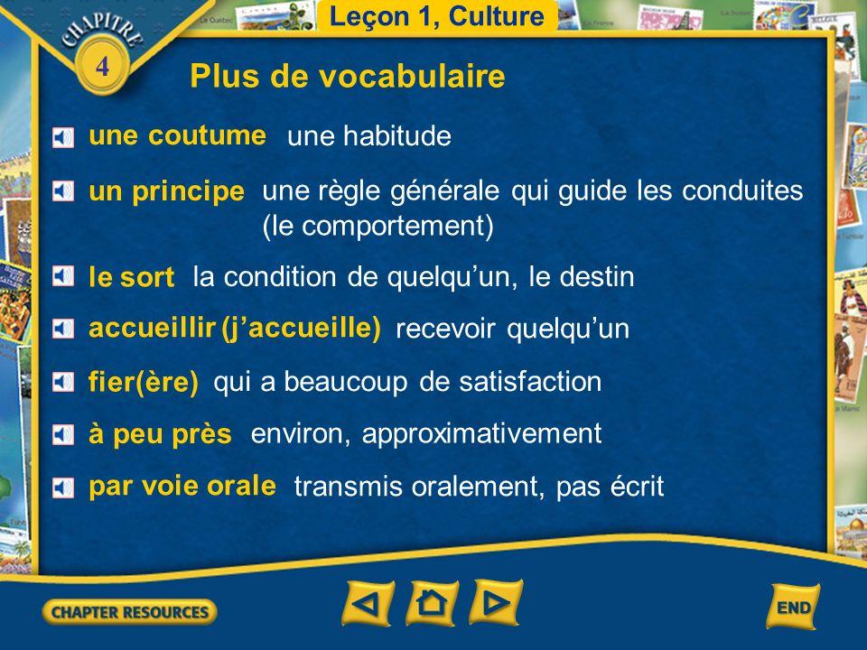 4 Vocabulaire le Sénégal Senegal Leçon 1 Culture la Tunisie Tunisia (French–English)