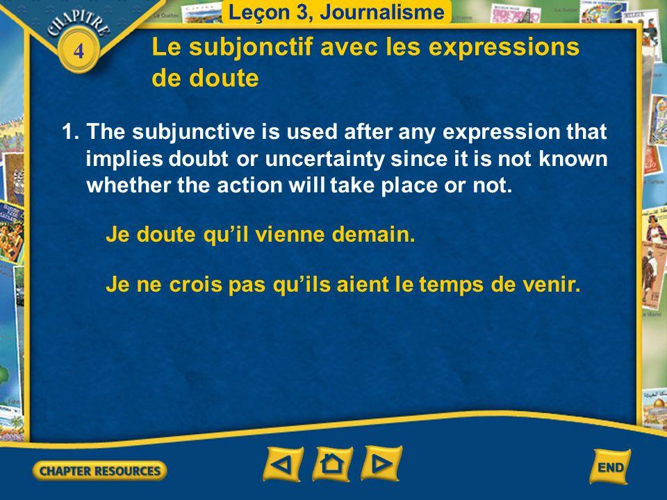 4 d Trouvez les mots qui correspondent.Leçon 3, Journalisme 1.