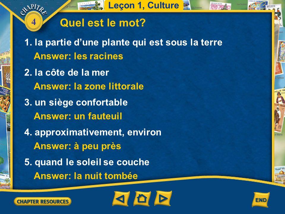 4 Vocabulaire le Sénégal Senegal Leçon 1 Culture la Tunisie Tunisia (English–French)