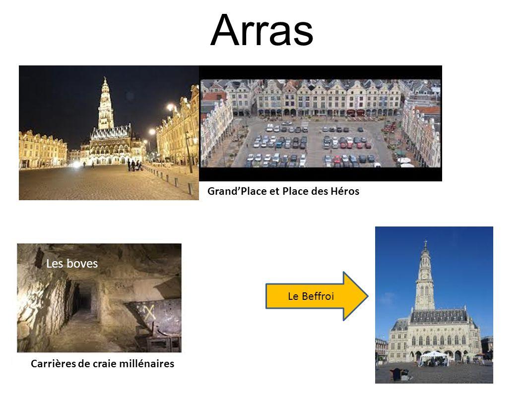 Arras GrandPlace et Place des Héros Les boves Carrières de craie millénaires Le Beffroi