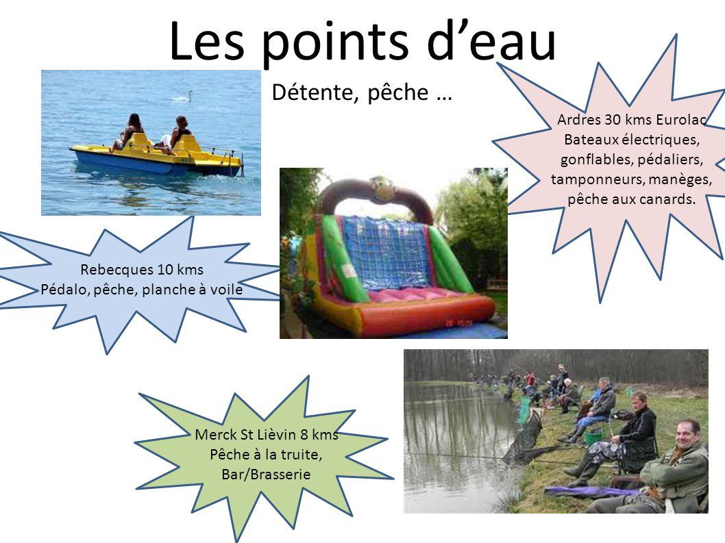 Les points deau Détente, pêche … Rebecques 10 kms Pédalo, pêche, planche à voile Ardres 30 kms Eurolac Bateaux électriques, gonflables, pédaliers, tam
