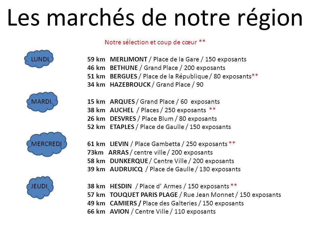 Notre sélection et coup de cœur ** LUNDI59 km MERLIMONT / Place de la Gare / 150 exposants 46 km BETHUNE / Grand Place / 200 exposants 51 km BERGUES /