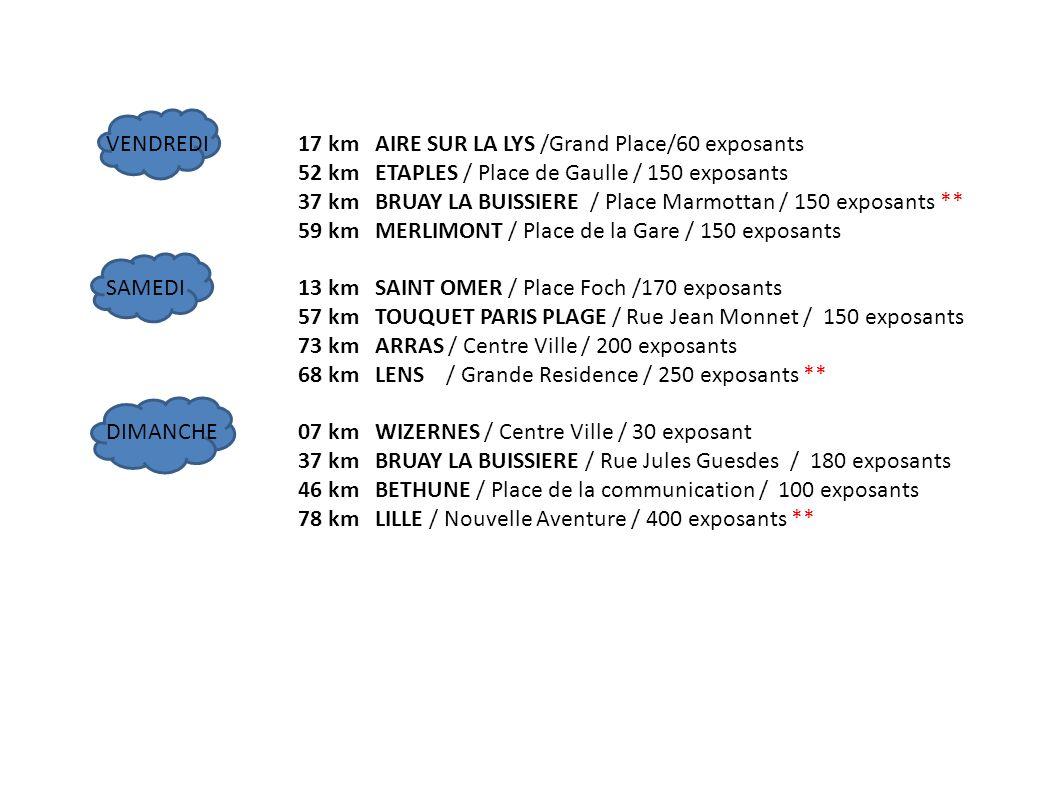 VENDREDI17 km AIRE SUR LA LYS /Grand Place/60 exposants 52 km ETAPLES / Place de Gaulle / 150 exposants 37 km BRUAY LA BUISSIERE / Place Marmottan / 1