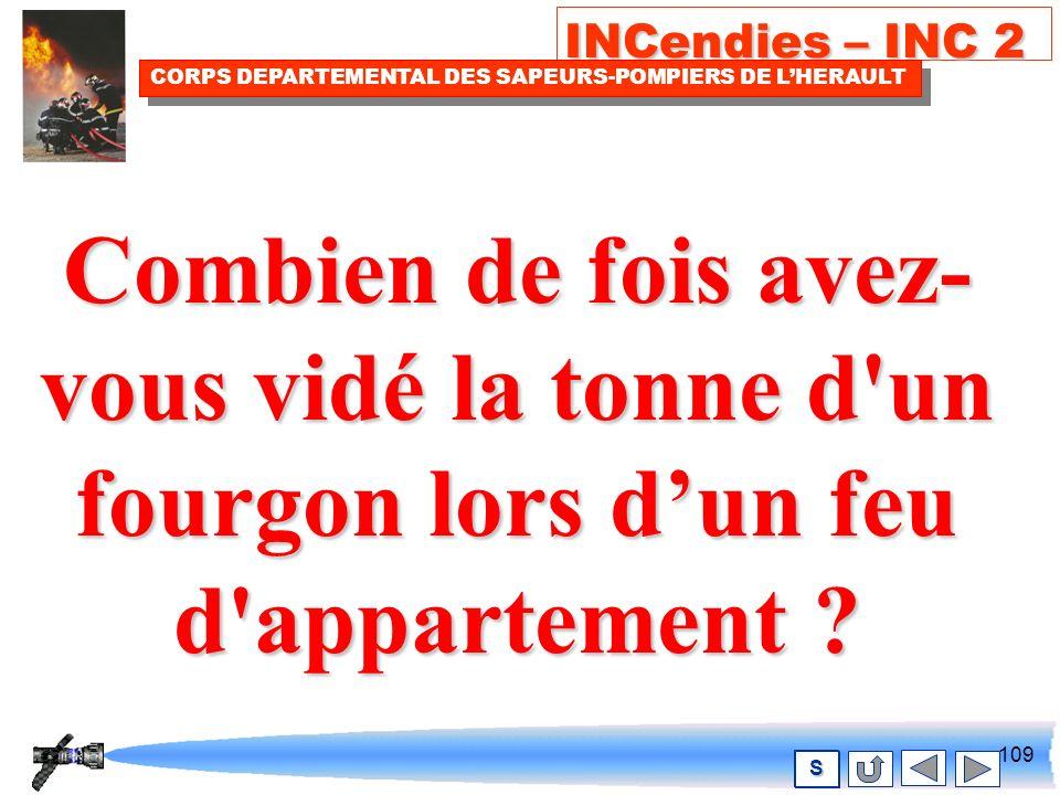 108 INCendies – INC 2 CORPS DEPARTEMENTAL DES SAPEURS-POMPIERS DE LHERAULT S Réfléchissez et posez vous la question suivante !