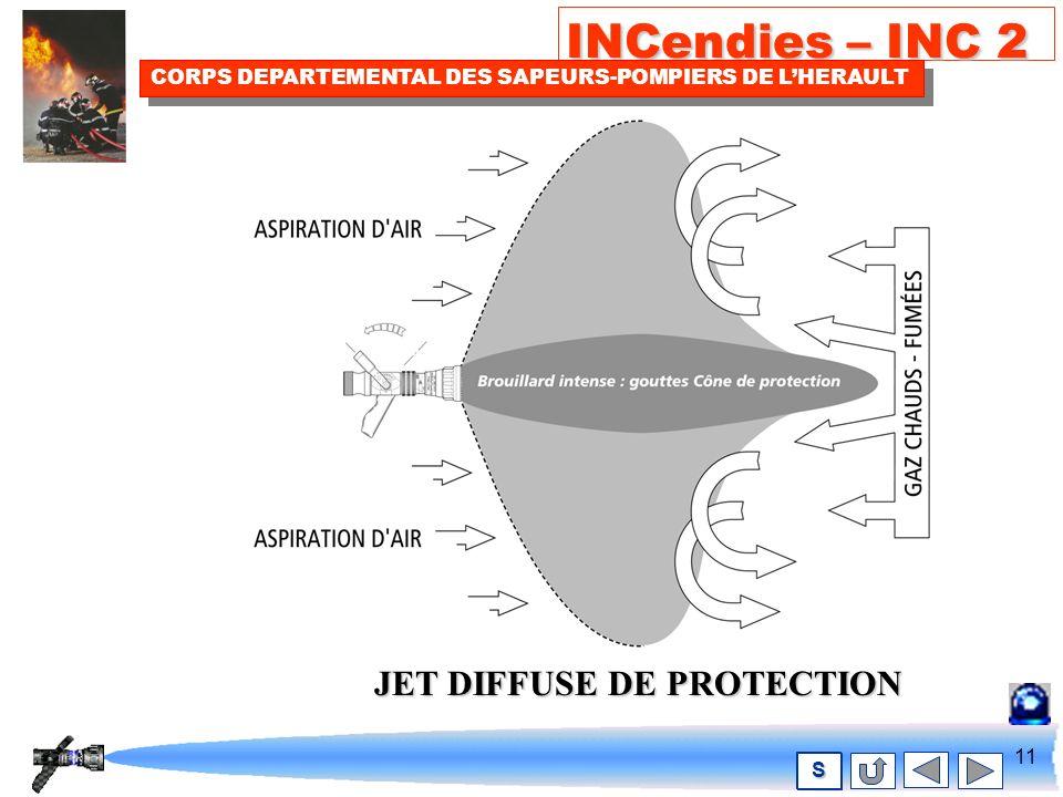 10 INCendies – INC 2 CORPS DEPARTEMENTAL DES SAPEURS-POMPIERS DE LHERAULT S Le principe du jet des L.D.V JET DIFFUSE DATTAQUE